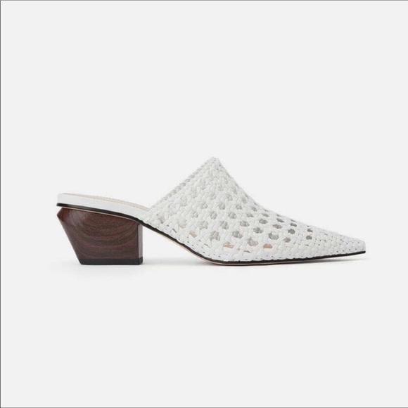 Zara Shoes | Zara White Western Mules
